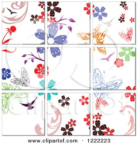 Clipart of a Floral Butterfly Tile Background - Royalty Free Vector Illustration by leonid