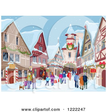 Clipart of a Dog and People Strolling and Christmas Shopping in a Village in the Snow - Royalty Free Vector Illustration by Pushkin