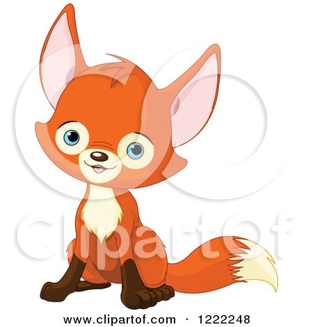 Clipart of a Cute Baby Fox Sitting - Royalty Free Vector Illustration by Pushkin