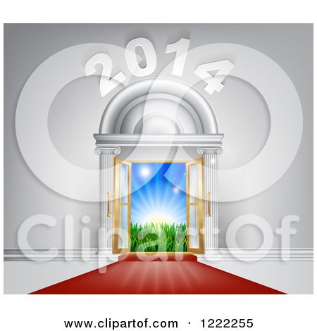 Clipart of a Red Carpet Leading to a 2014 New Year Doorway - Royalty Free Vector Illustration by AtStockIllustration