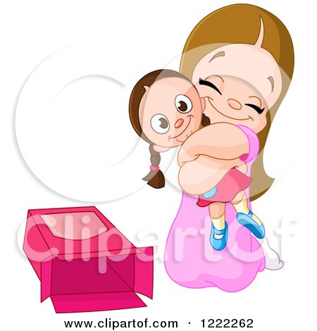 Clipart of a Happy Girl Hugging a Dolly for a Christmas Present - Royalty Free Vector Illustration by yayayoyo
