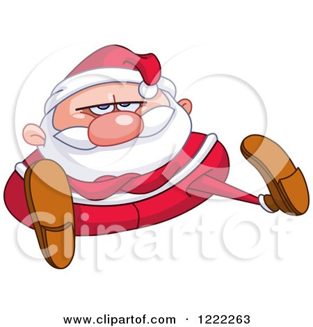 Clipart of a Chubby Stubborn Santa Claus Sitting with Folded Arms - Royalty Free Vector Illustration by yayayoyo