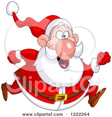 Clipart of a Chubby Cheerful Santa Claus Running - Royalty Free Vector Illustration by yayayoyo