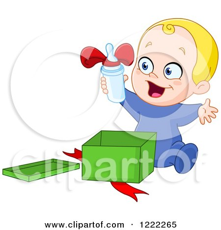 Clipart of a Caucasian Baby Boy Opening a Bottle As a Gift - Royalty Free Vector Illustration by yayayoyo