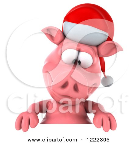 Clipart of a 3d Christmas Pig Looking down at a Sign - Royalty Free Illustration by Julos