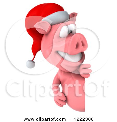Clipart of a 3d Christmas Pig Looking Around a Sign - Royalty Free Illustration by Julos