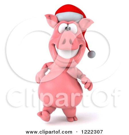 Clipart of a 3d Walking Christmas Pig Wearing a Santa Hat - Royalty Free Illustration by Julos