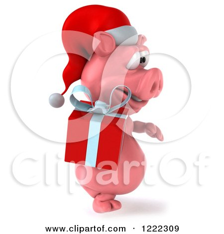 Clipart of a 3d Walking Christmas Pig Carrying a Present 4 - Royalty Free Illustration by Julos