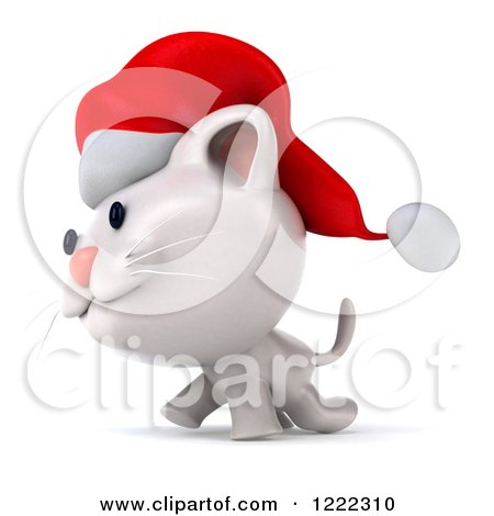 Clipart of a 3d White Christmas Cat Wearing a Santa Hat and ...