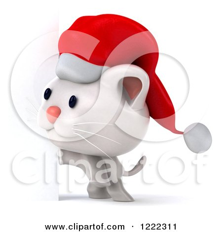 Clipart of a 3d White Christmas Cat Wearing a Santa Hat by a Sign ...