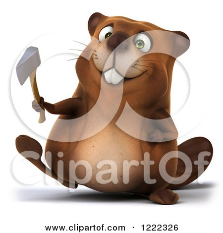Clipart of a 3d Beaver Mascot Walking with a Hatchet - Royalty Free Illustration by Julos
