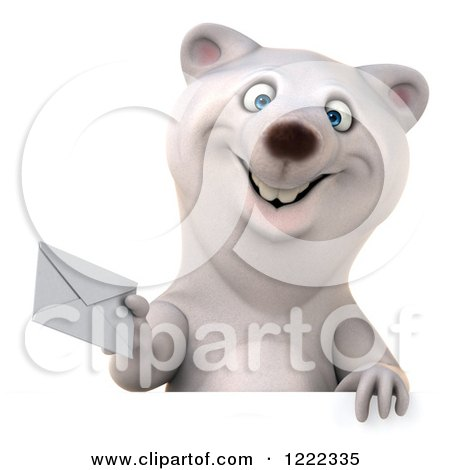 Clipart of a 3d Polar Bear Mascot Holding an Envelope over a Sign - Royalty Free Illustration by Julos