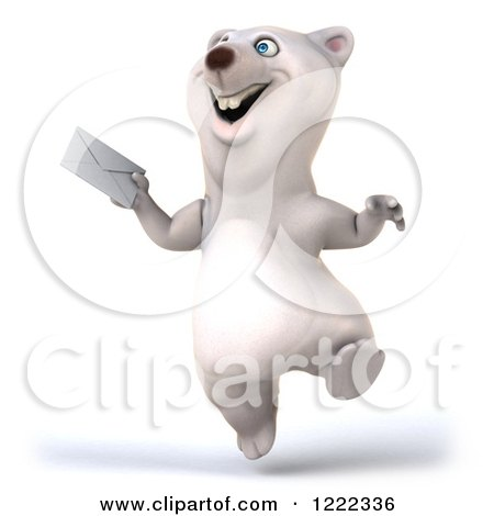 Clipart of a 3d Happy Polar Bear Mascot Skipping up an Envelope - Royalty Free Illustration by Julos