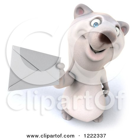 Clipart of a 3d Polar Bear Mascot Holding up an Envelope - Royalty Free Illustration by Julos
