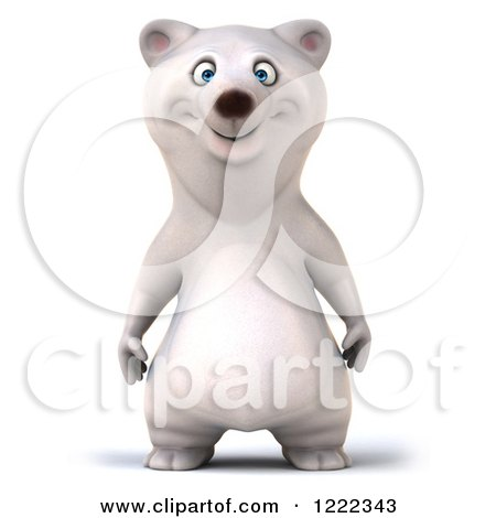 Clipart of a 3d Happy Polar Bear Mascot - Royalty Free Illustration by Julos