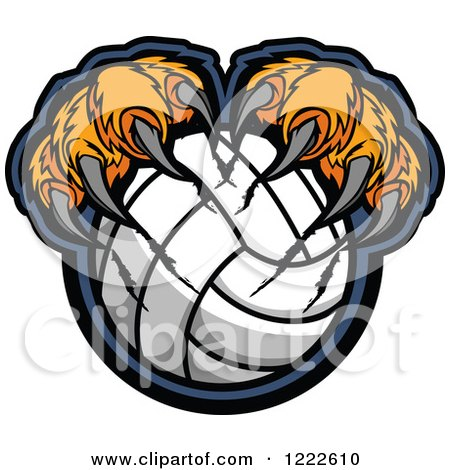 Clipart of Tiger Claws Shredding a Volleyball - Royalty Free Vector Illustration by Chromaco
