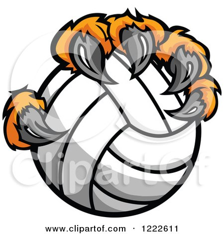 Clipart of Tiger Claws Holding a Volleyball - Royalty Free Vector Illustration by Chromaco