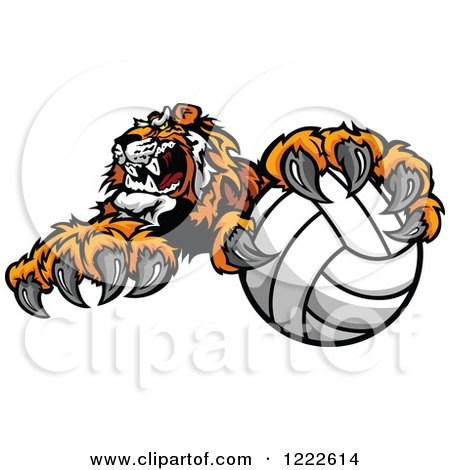 Clipart of a Vicious Tiger Mascot Resting a Paw on a Volleyball - Royalty Free Vector Illustration by Chromaco