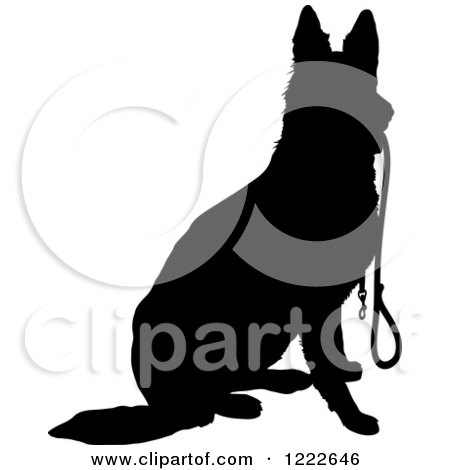 Clipart of a Black Silhouetted German Shepherd Dog Sitting with a Leash in His Mouth - Royalty Free Vector Illustration by Maria Bell