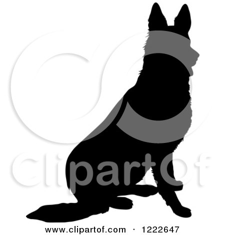 Clipart of a Black Silhouetted German Shepherd Dog Sitting - Royalty Free Vector Illustration by Maria Bell