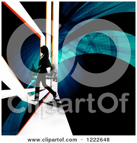 Clipart of a Female Pedestrian Walking on a City Street with Swooshes and Rays - Royalty Free Illustration by Arena Creative