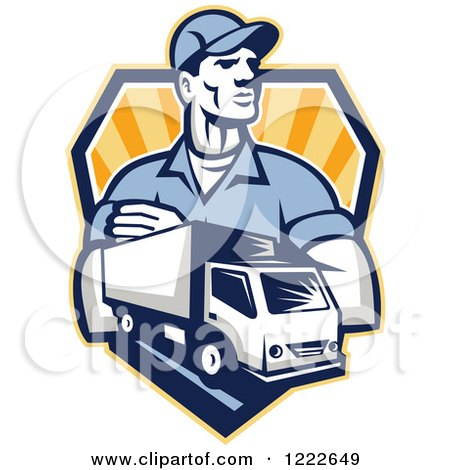 Clipart of a Retro Delivery Man and a Truck over a Shield of Rays - Royalty Free Vector Illustration by patrimonio