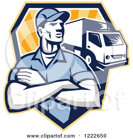 Clipart of a Retro Delivery Man with Folded Arms and a Truck over a Shield of Rays - Royalty Free Vector Illustration by patrimonio
