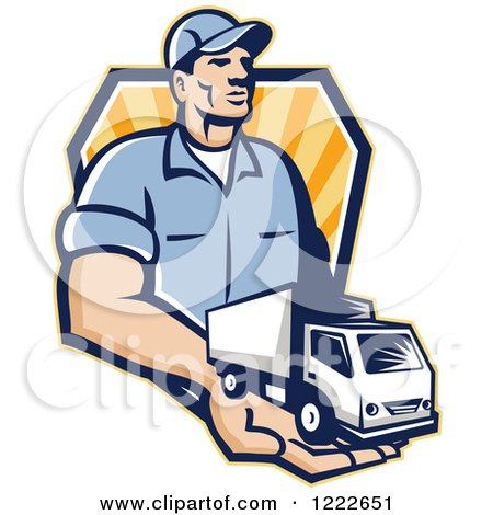 Clipart of a Retro Delivery Man Holding a Truck in His Hand over a Shield of Rays - Royalty Free Vector Illustration by patrimonio