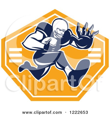 Clipart of a Gridiron American Football Player Running with the Ball over an Orange Shield - Royalty Free Vector Illustration by patrimonio