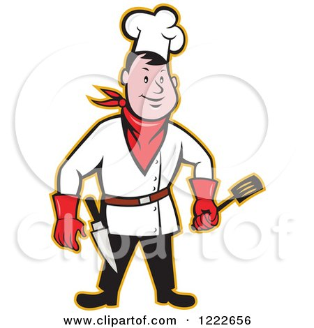 Clipart of a Cartoon Male Cowboy Chef with a Spatula and Knife - Royalty Free Vector Illustration by patrimonio
