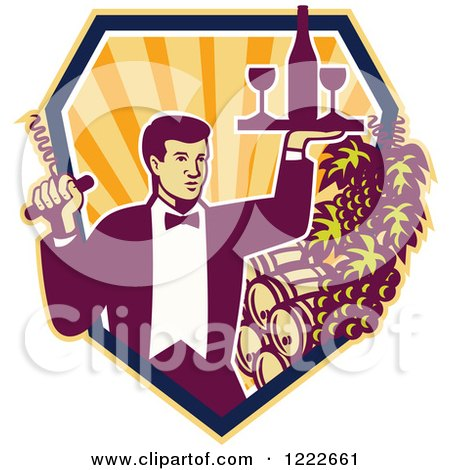 Clipart of a Male Waiter Serving Wine over Barrels in a Shield of Rays - Royalty Free Vector Illustration by patrimonio