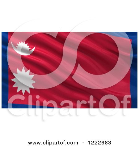 Clipart of a 3d Waving Flag of Nepal with Rippled Fabric - Royalty Free Illustration by stockillustrations