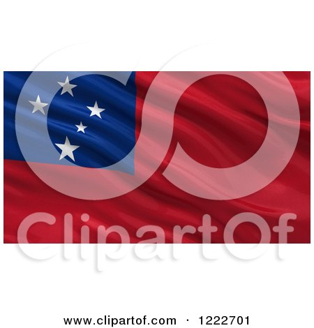 Clipart of a 3d Waving Flag of Samoa with Rippled Fabric - Royalty Free Illustration by stockillustrations