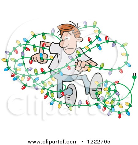 Clipart Of A Tangled Lights With Its Beginning To Look A