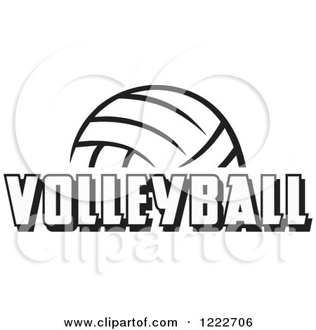 Clipart of a Black and White Ball with VOLLEYBALL Text - Royalty Free Vector Illustration by Johnny Sajem
