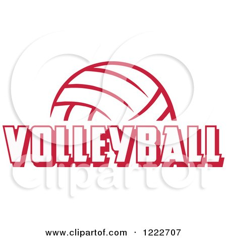 Clipart of a Cardinal Red Ball with VOLLEYBALL Text - Royalty Free Vector Illustration by Johnny Sajem
