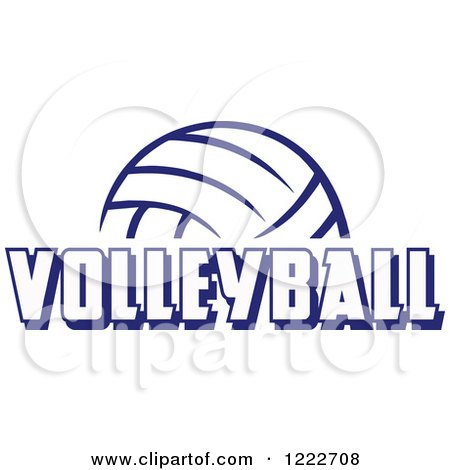 Clipart of a Navy Blue Ball with VOLLEYBALL Text - Royalty Free Vector Illustration by Johnny Sajem
