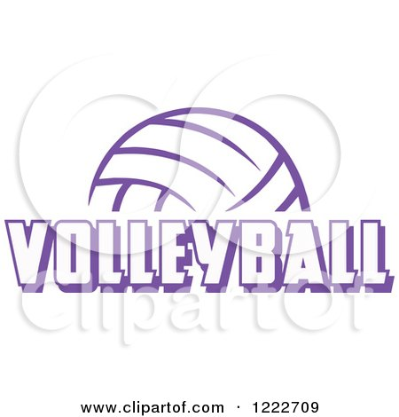 Clipart of a Purple Ball with VOLLEYBALL Text - Royalty Free Vector Illustration by Johnny Sajem