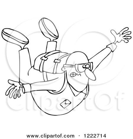 Clipart of a Nervous Guy Falling While Sky Diving - Royalty Free Vector Illustration by djart