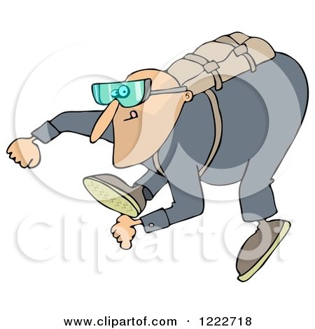 Clipart of a Man Falling While Sky Diving - Royalty Free Illustration by djart