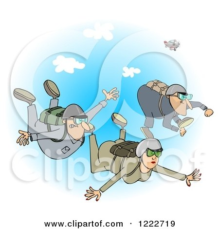 Clipart of a Woman and Men Falling While Sky Diving over Blue Sky - Royalty Free Illustration by djart