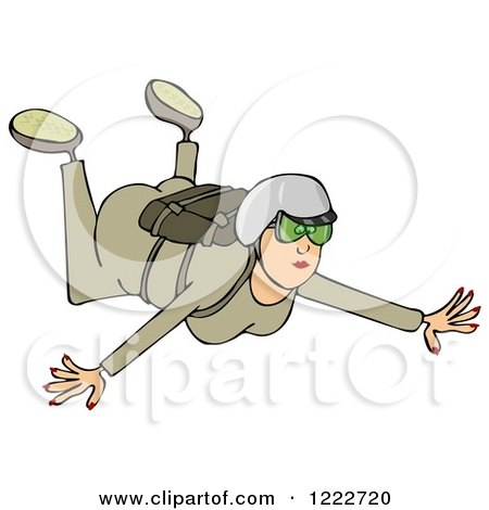 Clipart of a Woman Falling While Sky Diving - Royalty Free Illustration by djart