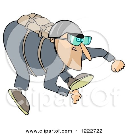 Clipart of a Skydiving Man - Royalty Free Illustration by djart