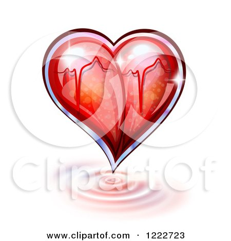 Clipart of a Glass Heart with a Graph over Ripples - Royalty Free Vector Illustration by Oligo