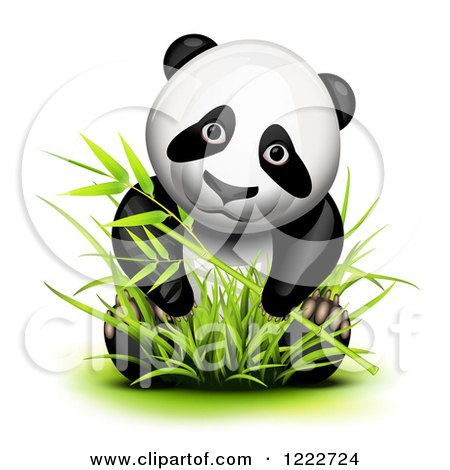 Clipart of a Cute Panda in Bamboo - Royalty Free Vector Illustration by Oligo