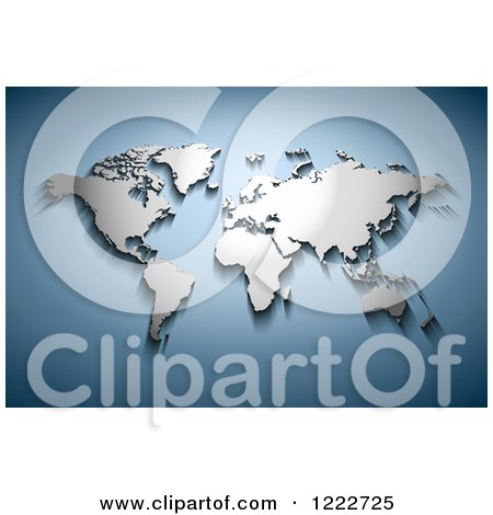 Clipart of a 3d Chrome World Map Atlas on Gradient Blue - Royalty Free Vector Illustration by Oligo