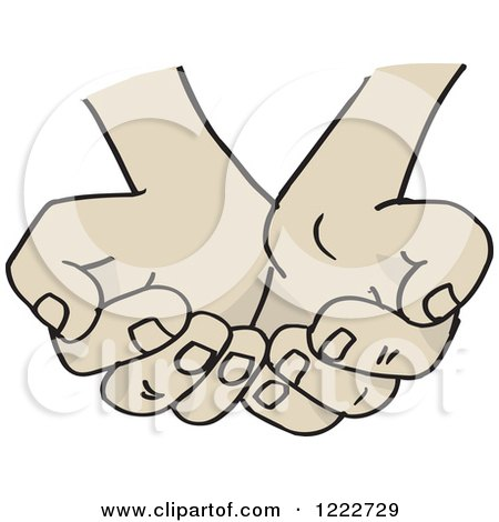 Clipart of Cupped Asian Hands - Royalty Free Vector Illustration by Dennis Holmes Designs