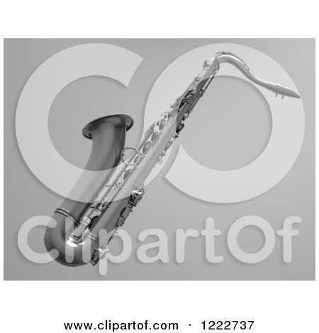 Clipart of a 3d Chrome Saxophone over Gray - Royalty Free Illustration by chrisroll