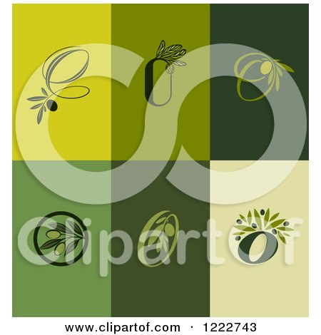 Clipart of Green Olive Designs - Royalty Free Vector Illustration by elena