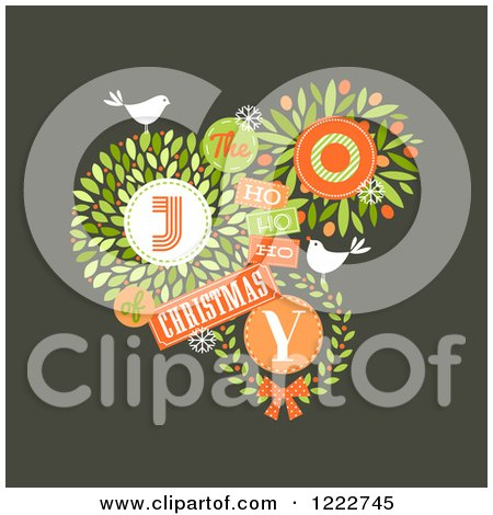 Clipart of the Joy of Christmas Text with Leaves Snowflakes and Birds - Royalty Free Vector Illustration by elena